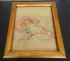 Maud Tousey Fangel BABY Print circa 1920's SIGNED with Gold Painted Wood Frame
