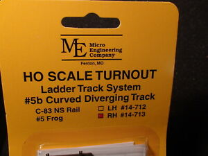 Micro- Engineering #14-713 HO LADDER TRACK SYSTEM TURNOUT RH #5b Code 83