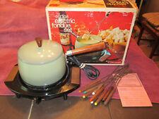 Vintage 1970s Cornwall Electric Fondue Set Avocado Green Pot w/ 10 Forks in Box