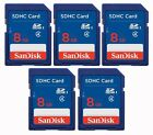 5 Pack Genuine Sandisk 8GB Class 4 Ultra SD SDHC Flash Memory Card SDSDB-008G