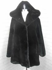 Vintage 1980s Ladies Raven Black Hooded Faux Mink Fur Swing Jacket Coat 12/14