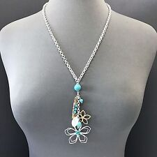 Turqu 00006000 oise Clear Stone Charm Necklace Unique Silver Gold Filigree Flower Design