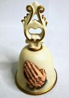 "VINTAGE HOMCO CERAMIC OR BISQUE PRAYER HANDS BELL 5 7/8"" H x 3 5/8"" DIAMETER"