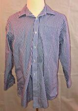 Lands' End Men's Regular Long Sleeve Straight Collar Broadcloth Shirt Sz 17 X 33