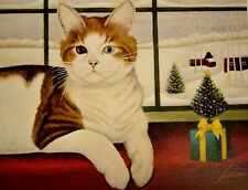Christmas Cat blue and yellow eyes Greeting Card by Lowell Herrero Unused 2003