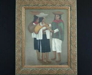 Original Artwork Oil on Canvas South American Art Mexican Portrait Signed Queza