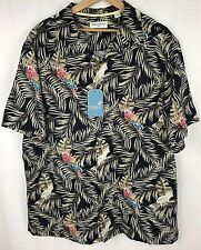 Caribbean Shirt Top 2XB Big Silk Button Down Short Sleeve Hawaiian Beige New $89