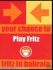 CHESS: FRITZ IN BAHRAIN. LIMITED EDITION.MAN AGAINST MACHINE. SHIPS FAST / FREE