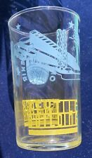 1939  NY WORLDS FAIR DRINKING GLASS TEXTILE BUILDING