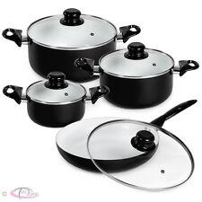 set di pentole da 8 pezzi batteria padelle in ceramica cucina nero