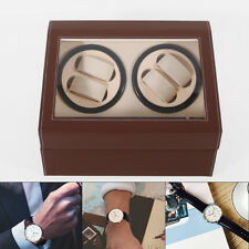 Storage Case Display Box Brown New Automatic Watch Winder 4+6 Rotation Leather