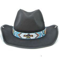 Blue White Red Yellow Seed Beaded Thunderbird Beadwork Cowboy Hat band Belt