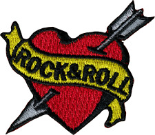 6278 Rock & Roll Heart Banner Love Tattoo Flash Embroidered Iron Sew On Patch