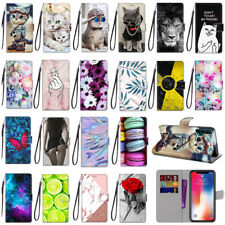 For Samsung Galaxy J Painted Magnetic Leather Flip Wallet Stand Strap Case Cover