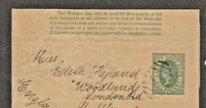 OF GOOD HOPE. POSTALLY USED NEWSPAPER COVER WITH PRE STAMPED 1/2d GREEN.