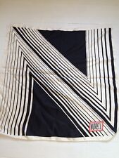 Vintage 1960s Norman Norell Silk Scarf Graphic N Logo Black & White 26 x 26