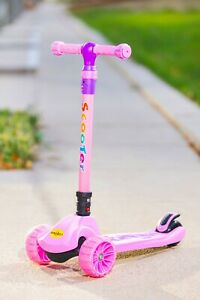 Kids Scooter 601 Pink/Red/Blue Foldable 3 Wheels With LED Aluminium T Bar
