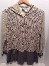 FAITH by Celia Forrester Hippie Rockabilly art beaded embellished Hooded top- L