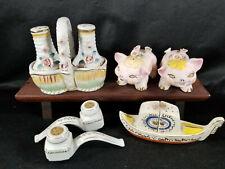 Vintage SALT & PEPPER SHAKERS Japan Lot Paulux, Asian Pipes, Flower Pigs Gondola