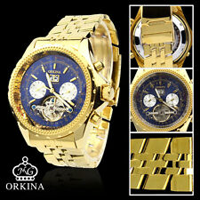 ORKINA Navy Blue Dial Automatic Mechanical Gold Color Men's Wrist Watch
