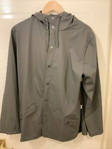 RAINS SHORT HOODED WATERPROOF GREY CHARCOAL JACKET NEW WITH TAGS XS/S