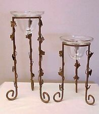 Vintage Metal Candle Holders Glass Candle Cups Ivy Leaves Gold Tone Pair (2)