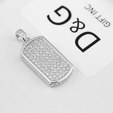 New DG Men's Iced-Out CZ .925 Sterling Silver Dog Tag Mini Pendant Unisex + Box