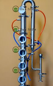 """3"""" stainless moonshine still reflux column with copper bubble plate"""