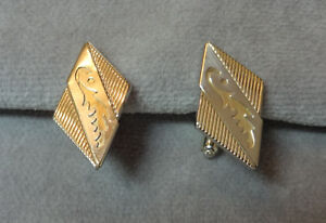 "Vintage 1940s Anson 1 1/4"" Art Nouveau Kite-Shaped Gold & Silvertone Cufflinks"