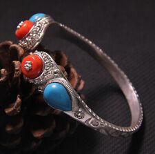 F08 Bangle Made from Fine Silver Silver 990 Tibet Nepal Tibetan Turquoise