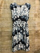 Ann Taylor Loft Size 16 Faux Wrap Dress Blue White Floral V Neck Midi Sleeveless