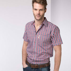 Rydale Short Sleeved Check Shirt Cotton Blend Casual Work Wear Shirts 28 Colours