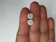 Mens & Ladies 10K Gold Designer Micro Pave Set Lab Diamond Screw Back Earrings