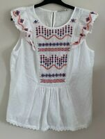 George Size 10 Ladies White Top With Red & Blue Embroidery Detail