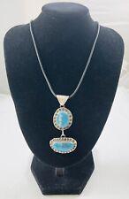 Turquoise Dangle Pendant Handmade Navajo Sterling Silver