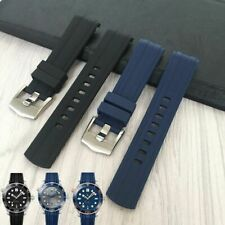 20mm Rubber Silicone Watchband Strap Omega Seamaster 300 Watch Band BLUE BLACK