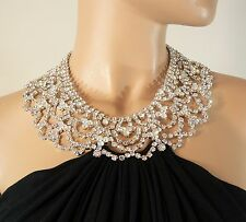 Sky Brand Black Dress Top with Aurora Borealis Crystal Necklace Small