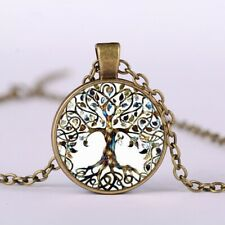 Vintage Tree of Life Glass Cabochon Pendant Bronze Chain Necklace Jewellery Gift