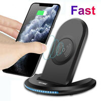 For iPhone 12 Min 11 Pro Max X/XS/8 Plus Qi Wireless Fast Charger Stand Pad Dock