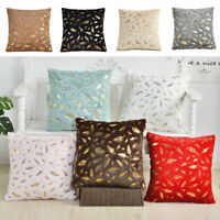 45*45cm Gold Feather Throw Pillow Back Cushion Cover Case Sofa Decor Pillowcase