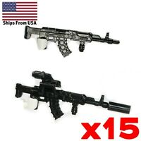 LEGO Guns AK47 Tactical Assault Rifle 2.0 Army Modern Military Weapon Lot x15