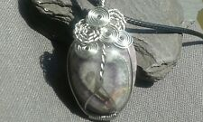 Handmade Natural Amethyst Gemstone Silver Wire Wrapped Pendant with cord