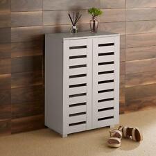 Oslo 2 Door Grey Wooden Shoe Storage Cabinet Rack Stand Cupboard Slatted Doors