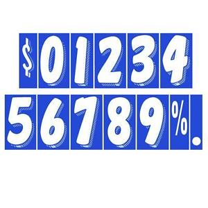 7 1/2 Inch White On Blue Adhesive Number  (multiple item shipping discount) #362