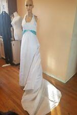 David's Bridal wedding dress size 2 halter top white with blue sash corset