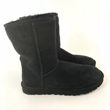 Genuine Uggs US8 UK6.5 Ladies Black Leather Suede Ankle Pull On Boots Fur Insole