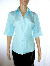 Womens Vtg 70s Blue Silk Evening Tailored Embellish Blouse Half Sleeve sz L AI41