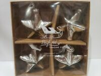 """Sleigh Hill Trading Christmas Mercury Glass Star Ornaments 3"""" Set of 4 NEW"""