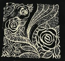 EMBROIDERED Champagne on BLACK Silk Velvet Fabric Patch - ROSES