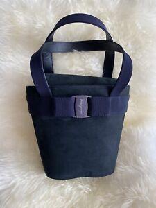 Salvatore Ferragamo Vara Bow Hand Bag BA217183 Purse Navy Suede